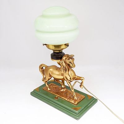 Vintage Cast Brass Equestrian Themed Table Lamp with Painted Wood Base, Glass Shade and Bakelite Lampholder