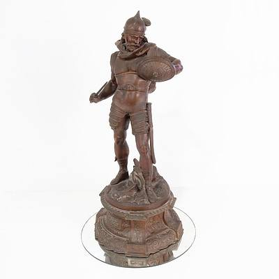 Pierre Louis Detrier (1822-1897) Cast and Patinated Spelter Figure of a Gladiator, Late 19th or Early 20th Century