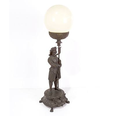 Edwardian Cast and Patinated Figural Table Lamp with Glass Shade, Early 20th Century