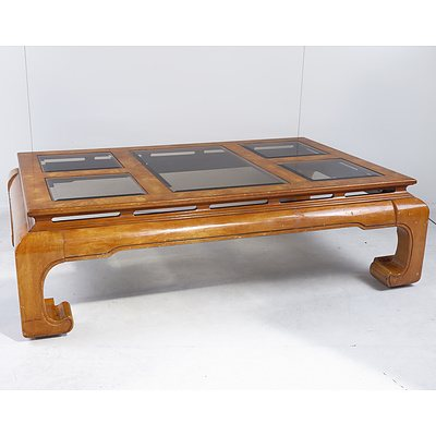 Large American Bird's Eye Veneered and Bevelled Glass Oriental Style Coffee Table, Late 20th Century