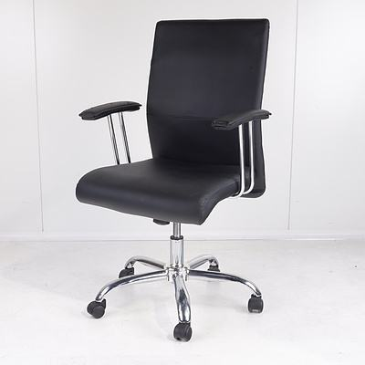 Pago Designs Black Faux Leather Office Chair