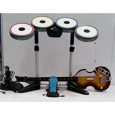 The Beatles Rock Bank Hofner Bass Guitar, Drum Kit & Sidewinder Precision 2 Joystick
