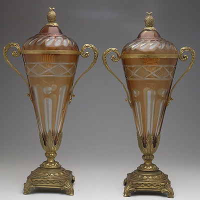 Pair of Antique Style European Bohemian Cut Glass and Ormolu Mounted Urns