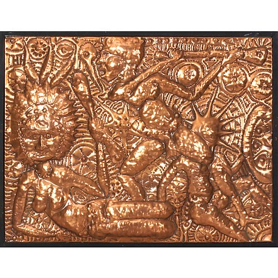 PNG Repousse Copper Panel in the Manner of Mathias Kauage (1944-2003) Circa 1970s, Unsigned