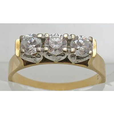 18ct Gold Round Brilliant-cut CZ Ring