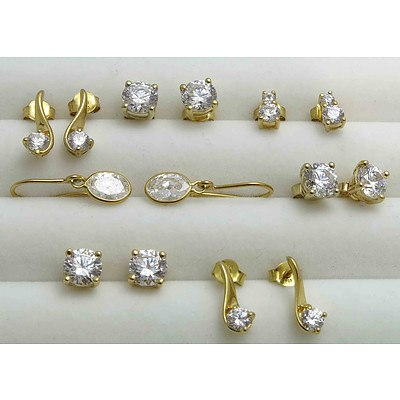 CZ Earrings, Gold-plated Sterling Silver (7 Pairs)