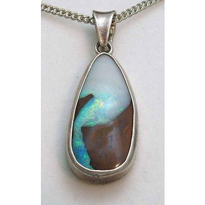 Sterling Silver Queensland Boulder Opal pendant