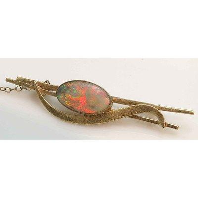 Vintage Australian Solid Opal Brooch