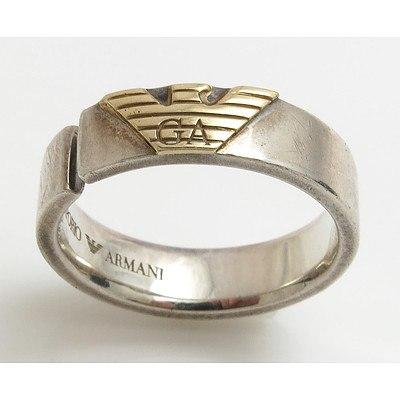 ARMANI Ring - Sterling Silver with 10ct Gold Georgio Armani Logo