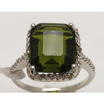 Sterling Silver Dress Ring - Synthetic Green Gem