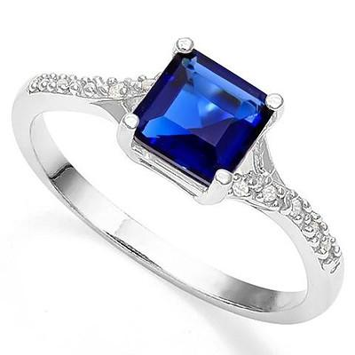 Synthetic Blue & White Sapphire Ring