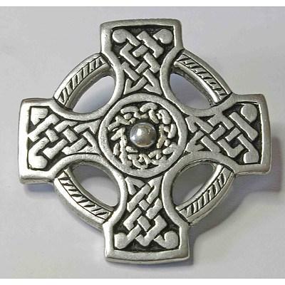 Pewter Brooch of Celtic Cross Form