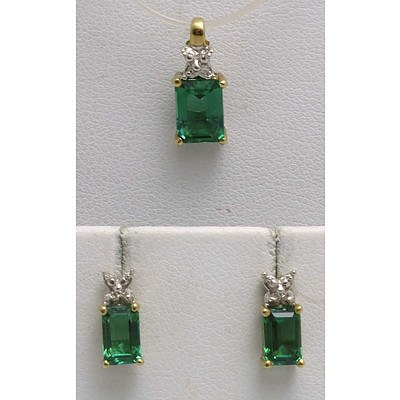 Pendant & Earring Set Synthetic Emerald & Diamond