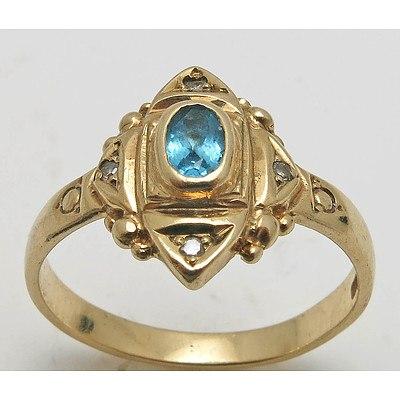 9ct Gold Topaz & Diamond Ring