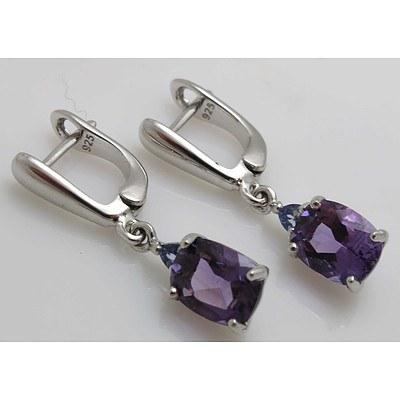 Sterling Silver Earrings - Amethyst & Tanzanite