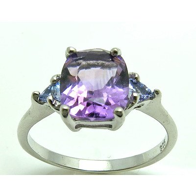 Sterling Silver Amethyst & Topaz Ring