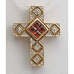 9ct Gold Cross - Garnet & Diamond