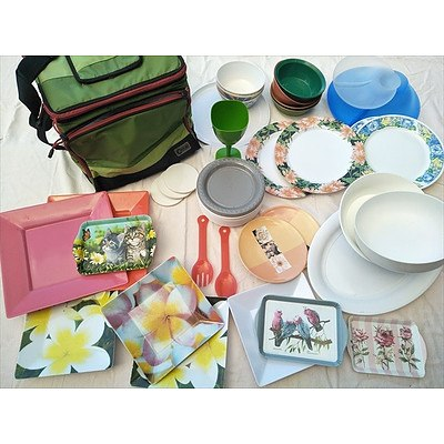 Picnic Cooler Bag And Plastic & Melamine Plates, Bowls And Trays