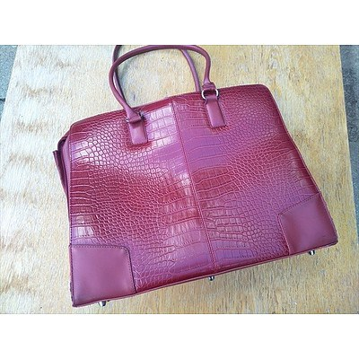 Red Leather Woman's Brief Case Bag With Padded Laptop Case