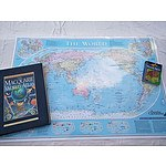 Laminated World Map, Atlas And World Facts Book