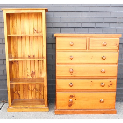 Large Pine Chest of Drawers and Pine Bookcase