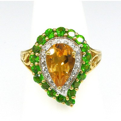 9ct Yellow Gold Ring with Coloured Synthetic Gems, Made in India