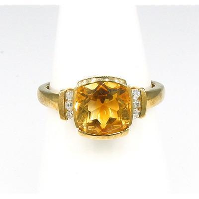 9ct Yellow Gold Ring with Cushion Cut Orange/Yellow Citrine and Six Single Cut Diamonds