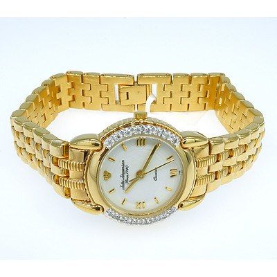 Ladies Wrist Watch with Small Single Cut Diamonds in the Bezel