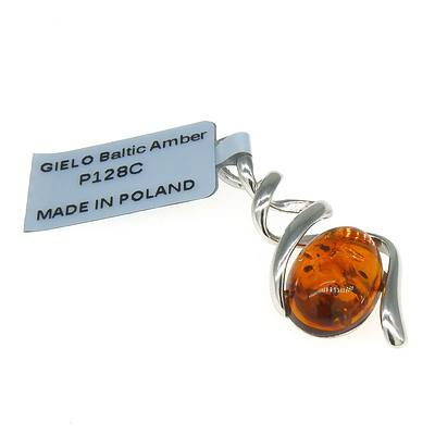 Sterling Silver Pendant with Oval Cabochon of Amber