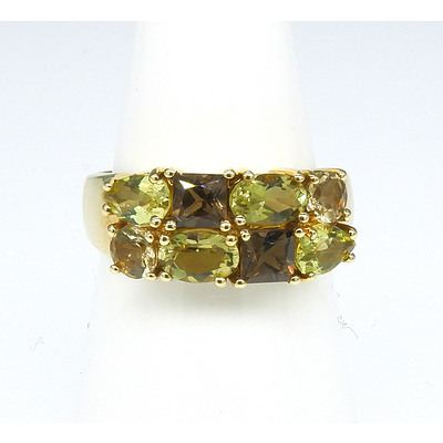 9ct Yellow Gold Ring with Two Rows of Mixed Cut Gems, Citirne Alternating with Smoky Quartz in Claw Setting