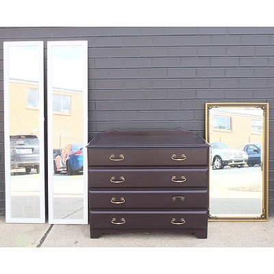 Antique Style Beveled glass Mirror, Chest of Drawers and Pair of Tall Standing Mirrors