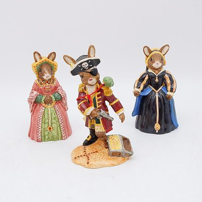 Three Royal Doulton Bunnykins Including Pirate, Kathryn Howard and Jane Seymour