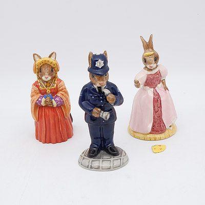 Three Royal Doulton Bunnykins Figures Including Catherine of Aragon, Policeman and Cinderella Bunnykins