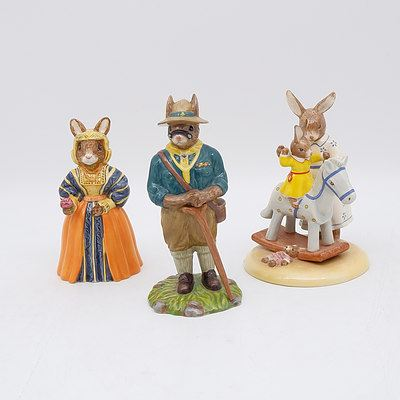Three Royal Doulton Bunnykins Figures Including Scout Leader, My Rocking Horse and Anne of Cleves