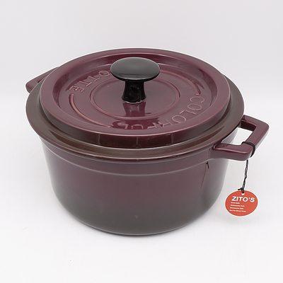 Purple Glazed Ceramic Zito's Cocotte Casserole Dish