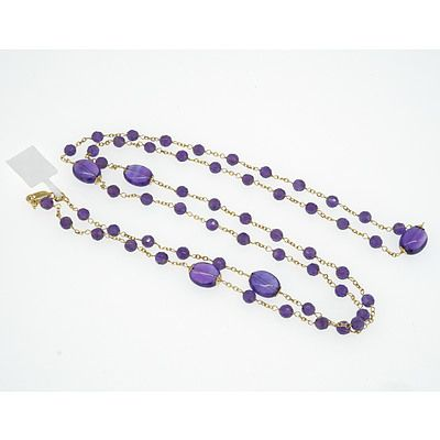 14ct Yellow Gold Necklace with Amethyst Beads Linked by Fine Chain