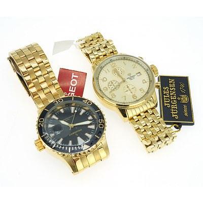 Two Gents Quartz Wrist Watches, Including Peugeot and Jules Jurgensen