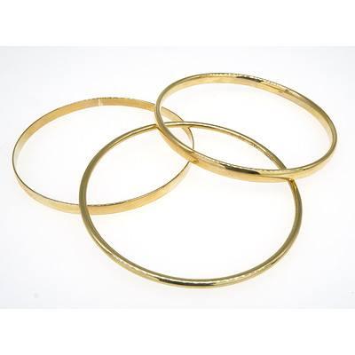 Three 9ct Yellow Gold Bangles