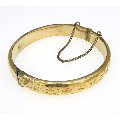 9ct Rolled Gold Hinged and Engraved Bangle