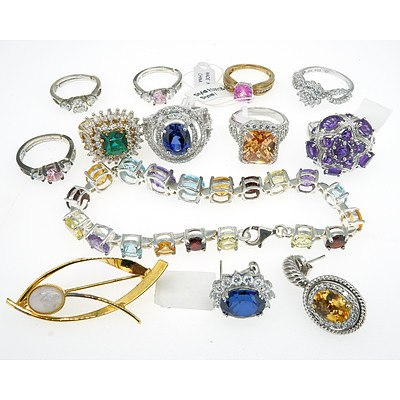 Group of Sterling Silver Rings With Imitation Gems, Including a Bracelet