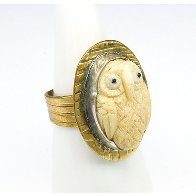 Silver Gold Plated Ring with Carved Bone Owl
