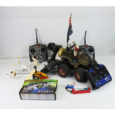 Group of Remote Control Helicopters, Drones, Car