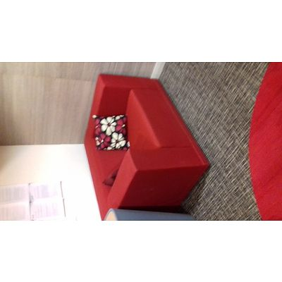 Modern Red Fabric Armchairs - Lot of 3