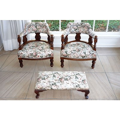 Pair of Silky Oak Small Tub Chairs Early 20th Century