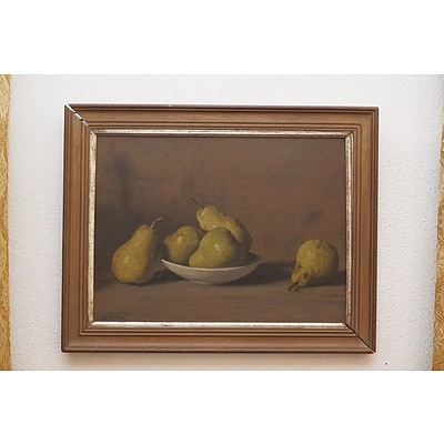 Still Life with Pears, Oil On Canvas Board, Signed Indistinctly Lower Left and Dated 35