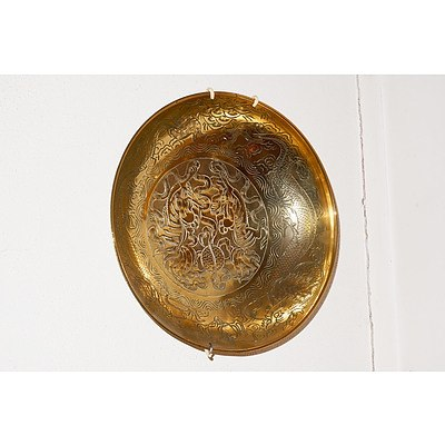 Antique Chinese Engraved Brass Dragon Dish and A Small Indian Metal Tray