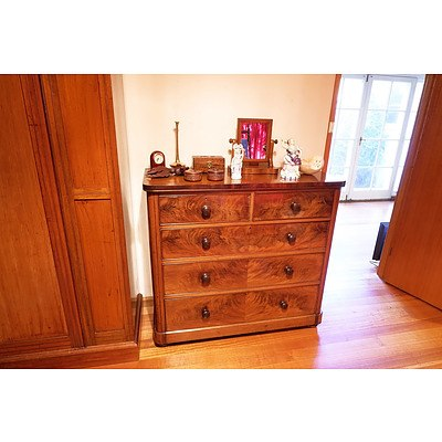 A Victorian Flame Mahogany Chest of Drawers