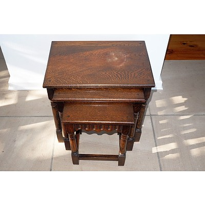 A Nest of Solid Oak Tudor Style Tables From The Early To Mid 20th Century