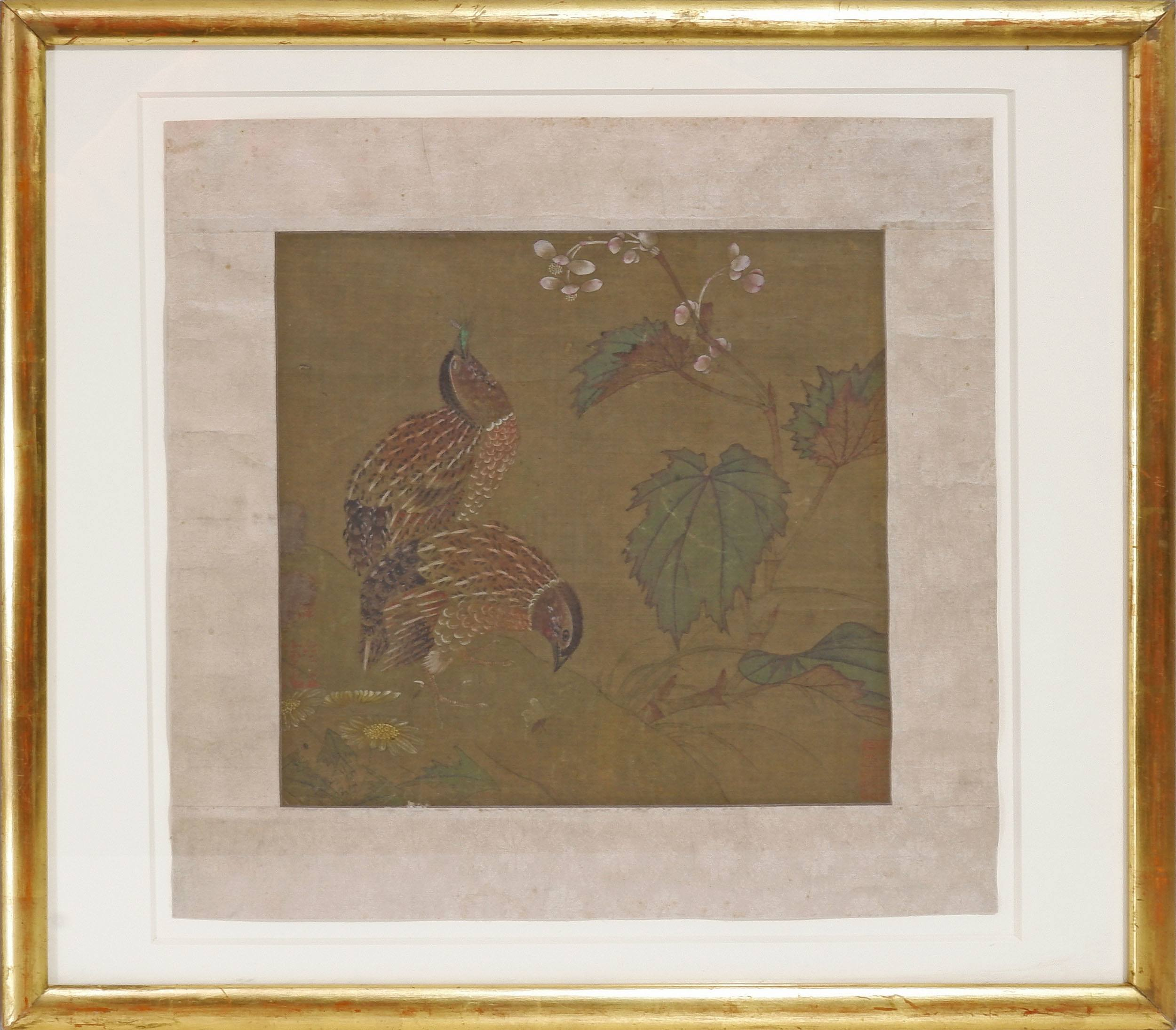 'Chinese 18/19th Century, Quail, Ink and Colour on Silk'