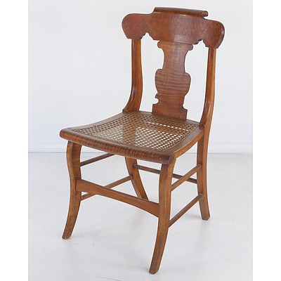 19th Century Beech and Birdseye Maple Sabre Leg Chair with Caned Seat